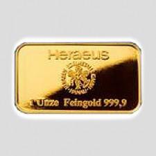 1 Unze     Goldbarren Heraeus Hanau - original-geblistert mit Zertifikat
