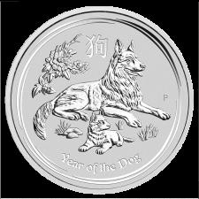 1 Unze Australian Lunar II Hund 2018 Silber, Differenzbesteuert § 24 UStG